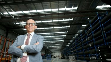 CEVA's managing director Australia and New Zealand, Carlos Velez Rodriguez, poses at the car carrying company's new single-span warehouse in Truganina.