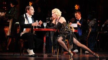Adrian Tamburini (Alcindoro) and Lorina Gore (Musetta) in Opera Australia's La Boheme (Sydney cast).