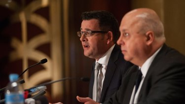 Victorian Premier Daniel Andrews with Treasurer Tim Pallas.