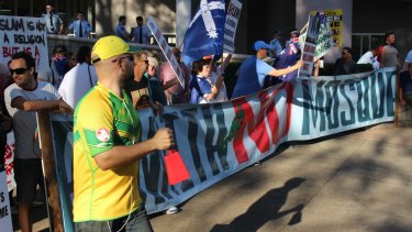 Tensions build in Penrith: Protesters oppose a proposed Muslim prayer hall.