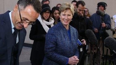Former Greens Leader Senator Christine Milne with new Greens Leader Senator Richard Di Natale leader during a press conference on Wednesday.