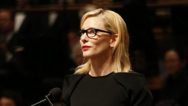 Cate Blanchett, pictured speaking at Gough Whitlam's funeral last year, will be the star attraction at a Tanya Plibersek fundraiser next month.