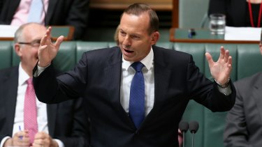 Prime Minister Tony Abbott during question time on Wednesday.