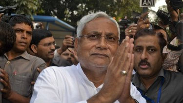 Bihar Chief Minister Nitish Kumar greets supporters after victory in the Bihar state elections earlier this month.