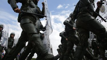 Brazilian soldiers take part in an exercise drill as they train to provide security for the Rio 2016 Olympic Games.