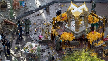The site of the deadly blast at the Erawan Shrine in central Bangkok on Tuesday.