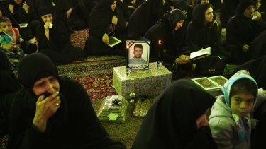 The memorial service for murdered asylum-seeker Reza Barati at the Al-Mahdi mosque in Tehran in 2014.