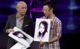 Meng Fei (left) and Dong Yan, with portraits of Wu Zhengzhen, on Chinese dating show If You Are the One in 2012. Wu and Dong are now married and live in Melbourne.