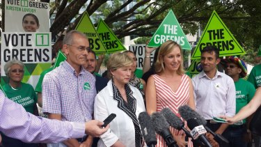 Greens Queensland lead spokesman Charles Worringham, Federal leader Christine Milne, Larissa Waters with candidates and supporters in Brisbane on Friday.