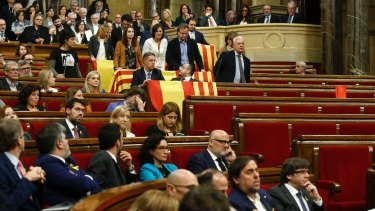 Lawmakers in the Catalan parliament in Barcelona ahead of Friday's independence vote.