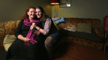 Same-sex couple Roisin (left)) and Anna Nagorcka tied the knot at Melbourne's British Consulate in January.