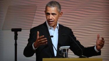 Barack Obama speaks at a leadership summit in New Delhi.
