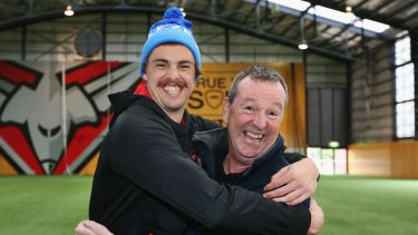 Daniher, pictured here with nephew and Essendon forward Joe Daniher, is living with MND and works tirelessly to raise money for a cure.