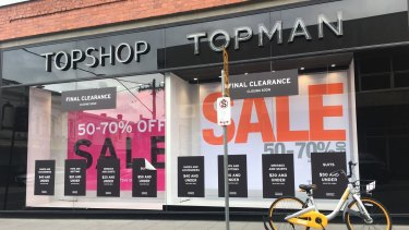 The Topshop store on Chapel Street, South Yarra, which is due to close.