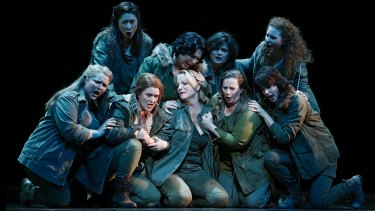Lise Lindstron as Brunnhilde (centre front) with the rest of the Valkyries.
