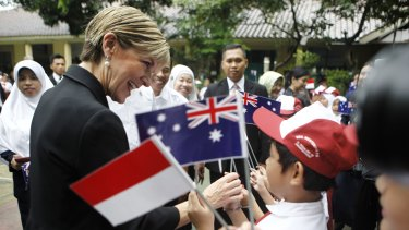 Australian Foreign Minister Julie Bishop a primary school in Jakarta on Monday.