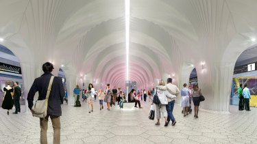 A concept image of the interior of Arden station. North Melbourne fans want to see it named after one of their players.