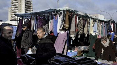 A street market near the Cite des Bosquets, a housing complex largely populated by Muslims in Clichy-sous-Bois, an impoverished suburb of Paris.