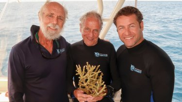 Sea mission: (from left) John Rumney, Managing Director of GBR Legacy, Dr Charlie Veron with new coral species, and Dr Dean Miller, Director of Science and Media GBR Legacy.