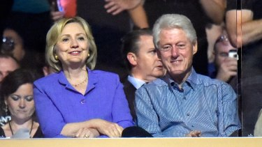 Former US secretary of state Hillary Clinton and former US president Bill Clinton.