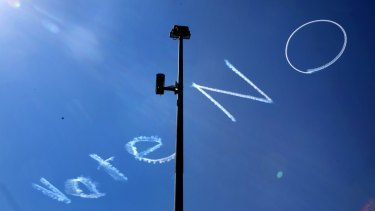 Sky-writing above Sydney's CBD supporting the negative in the debate on same sex marriage.