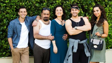 Tyler De Nawi, at left, with the cast of <i>Here Come the Habibs</i>: Michael Denkha (as Fou Fou), Camilla Ah Kin (as Mariam), Sam Alhaje (as Toufic) and Kat Hoyos (as Layla).