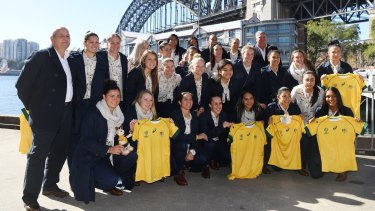 Ready: The Wallaroos pose for a photograph before departing for the Women's Rugby World Cup in Ireland.