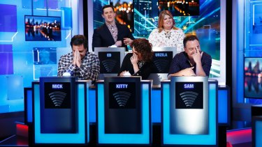 Clockwise, from back left: Ed Kavalee, Urzila Carlson, Sam Pang, Kitty Flanagan and Mick Molloy make fun of current affairs on <i>Have You Been Paying Attention?</I>.