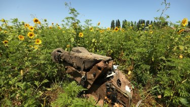 One of the pilots seats at one of the sites where the front section of MH17 crashed, on the outskirts of Rassypnoe village in the self-proclaimed Donetsk People's Republic, Ukraine.