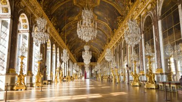 The famed Hall of Mirrors at the Versailles Palace.