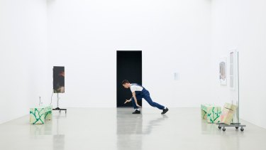 Adam Linder's 'Some Cleaning', 2013, is at the NGV as part of the Triennial. Pictured is Enrico Ticconi at Kunstverein Hannover