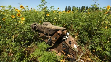 One of the seats from Flight MH17 on the outskirts of Rassypnoe village in Ukraine.