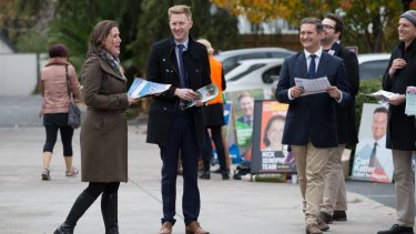 Pre-polling in Higgins: Kelly O'Dwyer with Jason Ball and Karl Katter.