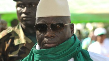 Gambian President Yahya Jammeh greets supporters during a rally in Gambia in 2011.