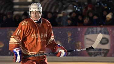 Vladimir Putin takes plays a match of the Night Hockey League on Saturday.