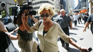 Anne Melocco leaving court after her husband was sentenced to two and a half years jail in 2005.