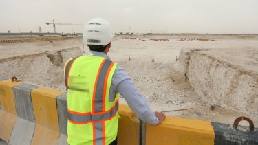 Construction in progress at one of the venues for the 2022 FIFA World Cup,  Al Rayyan Stadium.