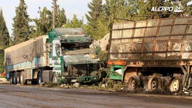 United Nations officials suspended convoy operations in Syria after the attack.