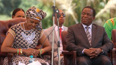 Out and In: Former Zimbabwean first lady Grace Mugabe, left, has been expelled from the ruling party, while fired vice and now incoming president Emmerson Mnangagwa, right, now heads it.