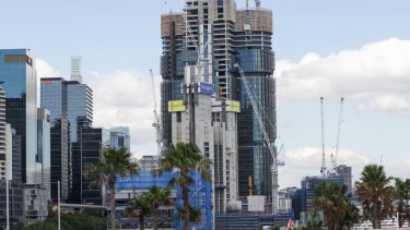 The high rise development as viewed from Barangaroo Point.