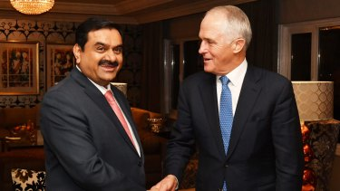 Prime Minister Malcolm Turnbull with India's Adani Group founder and chairman Gautam Adani.