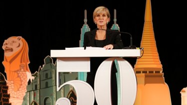 Julie Bishop delivers her keynote speech during a ceremony marking the 50th anniversary of ASEAN in Bangkok.