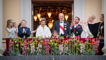Norway's Queen Sonja and King Harald with their family. Prince Sverre Magnus is second from right.