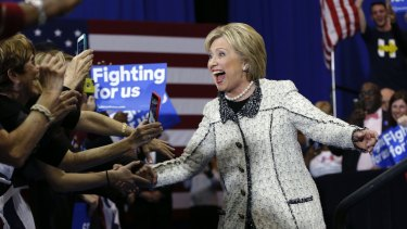 Hillary Clinton greets supporters in Columbia, South Carolina, after her resounding win.