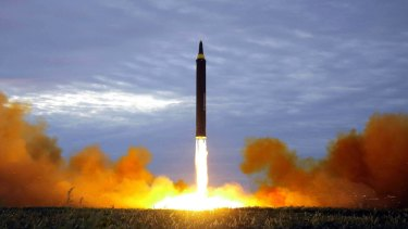 The test launch of a Hwasong-12 intermediate range missile in Pyongyang, North Korea, in August.