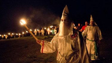 Members of the Ku Klux Klan on the march in Georgia in April.