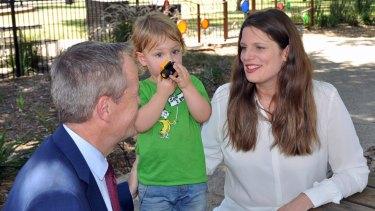 Labor MP Kate Ellis with her son Samuel and Opposition Leader Bill Shorten.