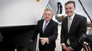 Retiring MP Bruce Billson and candidate Chris Crewther.