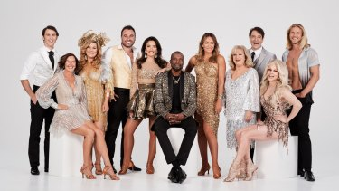 The 2019 cast of Dancing with the Stars. From left to right: Jimmy Rees, Cassandra Thorburn, Constance Hall, Miguel Maestre, Olympia Valance, Sir Curtly Ambrose, Michelle Bridges, Denise Scott, Samuel Johnson, Courtney Act and Jett Kenny.