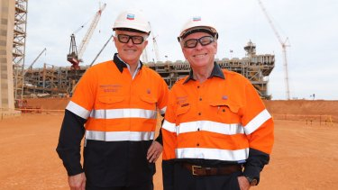 Prime Minister Malcolm Turnbull and WA Premier Colin Barnett tour an LNG project on Barrow Island last year.